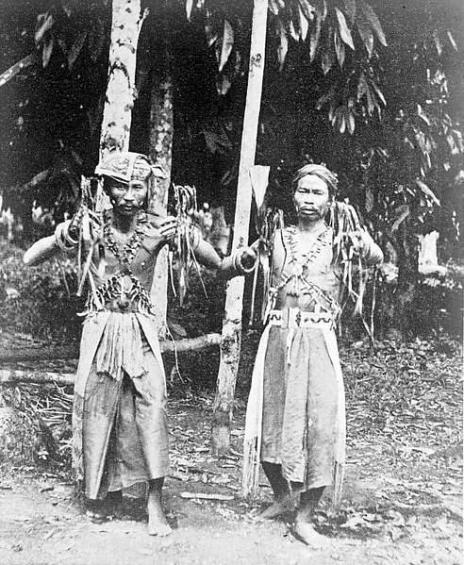 Medicine men of the dusun dayaks in west borneo
