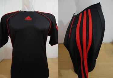 Kaos futsal adidas Hitam lis merah