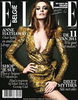 Anne Hathaway On January 2011 Elle Magazine Cover Page