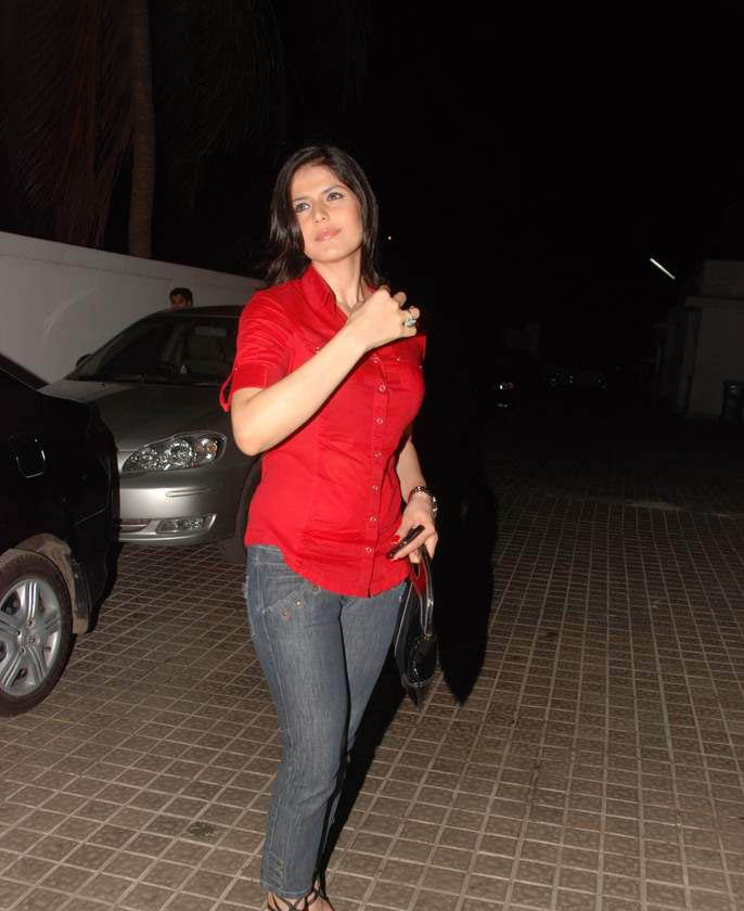 Khan In Tight Jeans Pant And Red Hot Top Bollywood Actress Zarine
