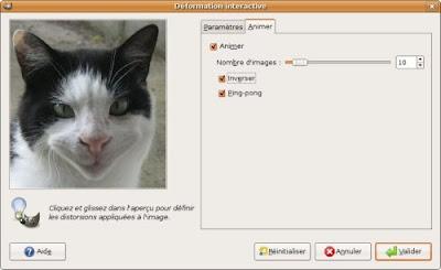 paramètres animation deformation tête chat sourire