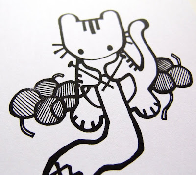 Purrrl Knitting Kitty print