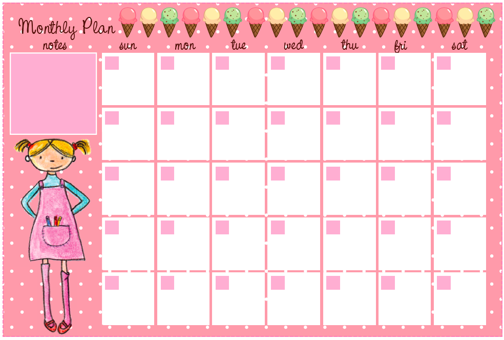 Free Printable 2015 Monthly Planner