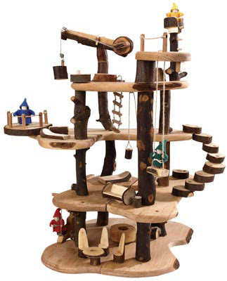 Hot toys hand crafted tree house from back to basics toys for Kids wooden treehouse
