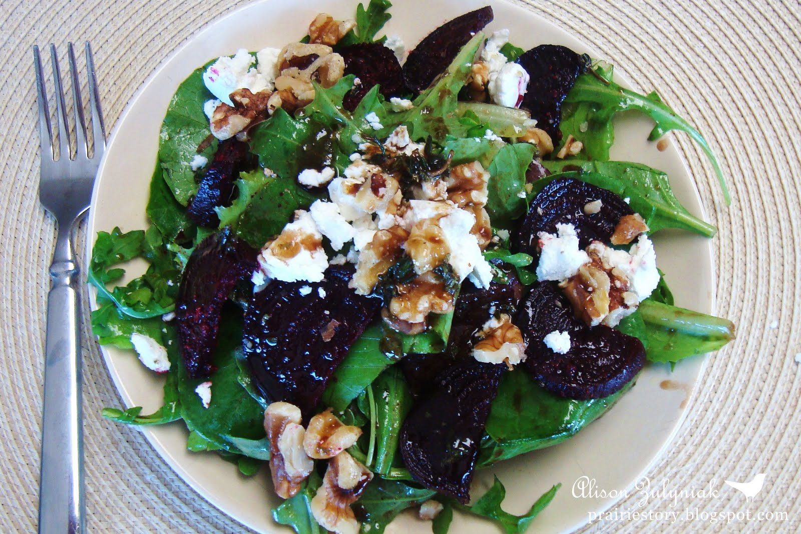 ... roasted beets, chevre, walnuts and the Maple Balsamic Vinaigrette. YUM