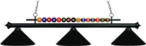 Z-Lite 170MB-MMB Shark 3 Light Billiard Table Fixture Matte Black