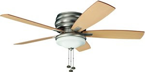 Kichler 300119NI 3 Light 52 Inch 5 Blade Windham Ceiling Fan Brushed Nickel With Reversible Maple/Marive Cherry Blades