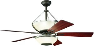 Kichler 300111OZ 6 Light 52 Inch 5 Blade Lucia Ceiling Fan Olde Bronze With Reversible Cherry/Walnut Blades