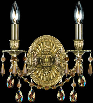 Crystorama 5522-AG-GTS Gramercy 2 Light Wall Sconce Aged Brass With Golden Teak Strass Crystal