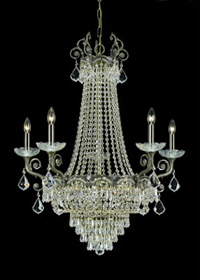 Crystorama 1486-HB-CL-MWP Majestic 5 Outside Light Chandelier Historic Brass With Hand Polished Crystal
