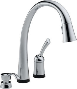 Delta 980T-SD-DST Pilar Single Handle Touch Activated Pull-Down Kitchen Faucet With Soap Dispenser