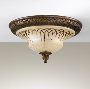 Murray Feiss FM275ATS Lake Geneve 2 Light Flush Mount Ceiling Fixture Aged Tortoise Shell