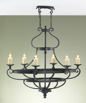 Murray Feiss F2277/6AF King's Table 6-Light Chandelier Antique Forged Iron with 3 Accent Rings