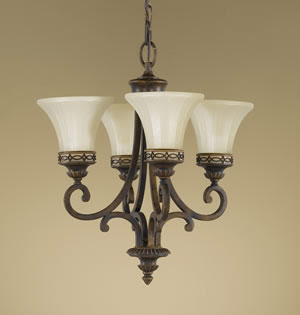 Murray Feiss F2221/4WAL Drawing Room 4 Light Mini Duo Chandelier Walnut