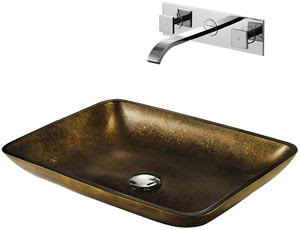 Vigo VGT112 Copper Glass Vessel Sink With Faucet