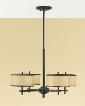 Murray Feiss F2346/4DBZ Casual Luxury 4-Light Chandelier Dark Bronze with Individual Shades