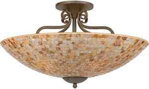 Quoizel MY1723ML Monterey Mosaic 5 Light Semi-Flush Ceiling Fixture Malaga