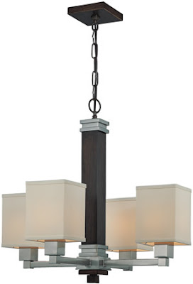 Lite Source LS-19244 McKale 4 Light Chandelier Dark Walnut Finish/Fabric Shade