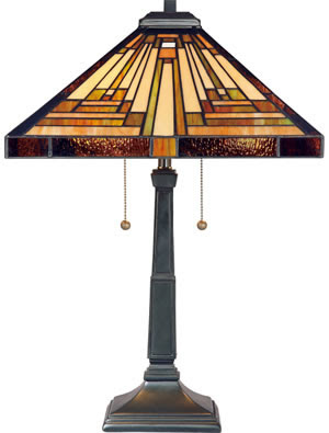 Quoizel TF885T Stephen 2 Light Tiffany Table Lamp Vintage Bronze