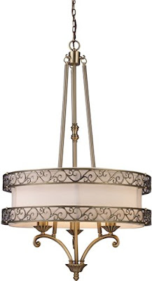 ELK 11218/3 Abington 3 Light Pendelier In Antique Brass
