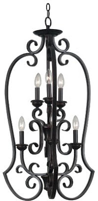 Hunter-Kenroy 80237ORB Flex 6 Light Foyer Chandelier Oil-Rubbed Bronze