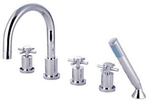 Kingston Brass KS83215DX Concord Roman Tub Filler With Hand Shower & Cross Handle - Chrome