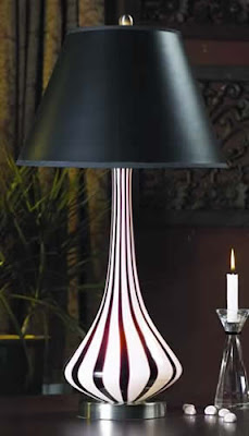 Lite Source LS-20503 2 Light Art Glass Table Lamp With Night Fixture Stripes