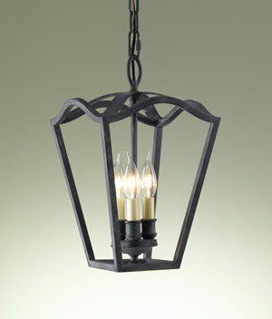 Murray Feiss F2324/3AF King's Table 3-Light Hallway Duo-Mount Chandelier Antique Forged Iron