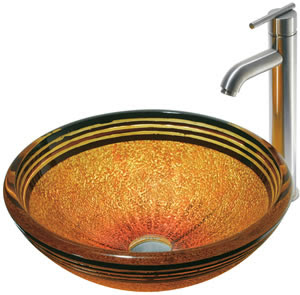 Vigo VGT103 Tangerine Glass Vessel Sink With Faucet