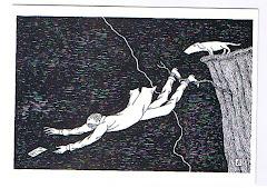 Postal com desenho de Edward Gorey
