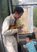 me, my son and ukulele in gondola