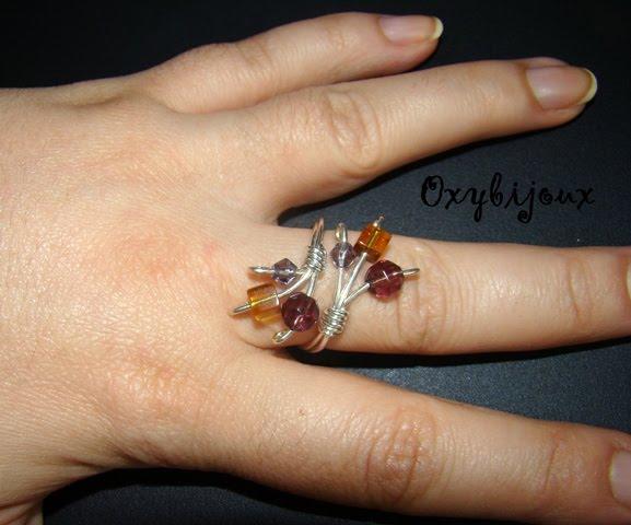 Inel cu cristale de sticla - 15 ron