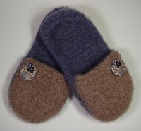 Knit and felted slippers made in a Wool Addiction workshop