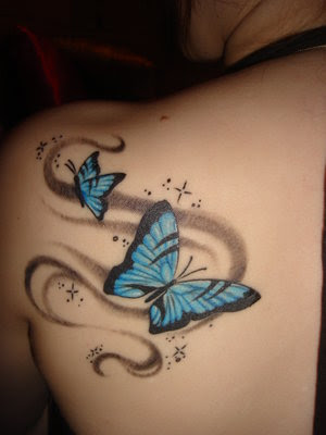 butterfly tattoo on shoulder. nice butterfly tattoo designs for women with dark skin color,