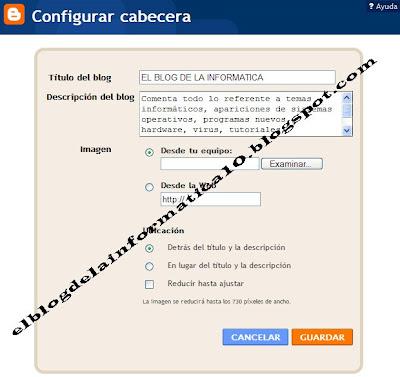 poner imagen en la cabecera del blog - configuración cabecera
