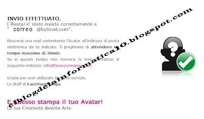 Crear avatar 2D para blog, messenger, space, etc... - confirmación del envío del avatar a nuestro correo