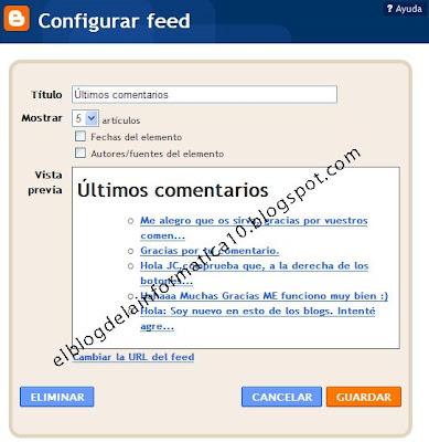 configuración gadget últimos comentarios