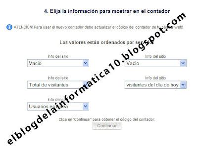 configuración de la información a mostrar