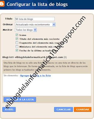 agregar lista de blogs