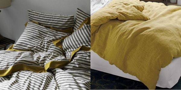 DwellStudio draper stripe in ash - CB2 djerba linen duvet cover in mustard