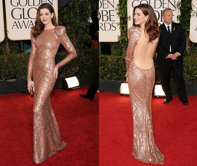 Anne Hathaway Armani Prive Sequined dress Golden Globes 2011