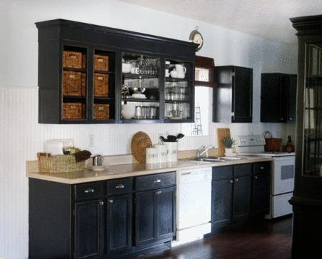 CottageI was thinking white appliances against the black cabinets