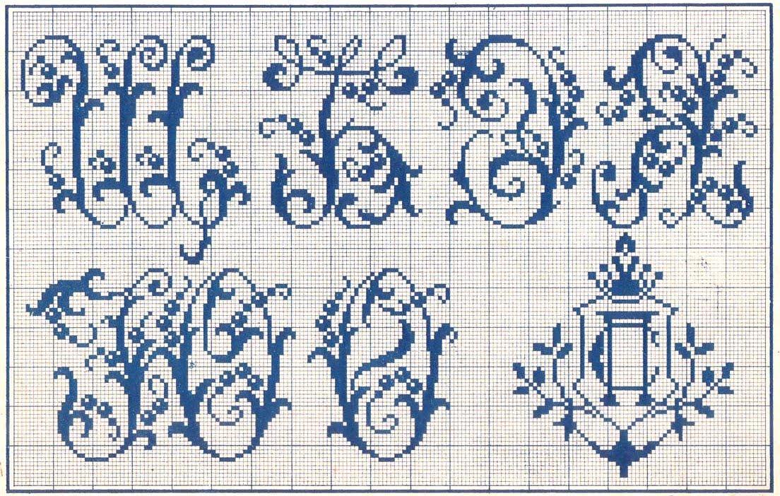 Вышивка крестом монограммы буква 69