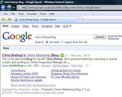 Google SearchWiki for Chris Bishop