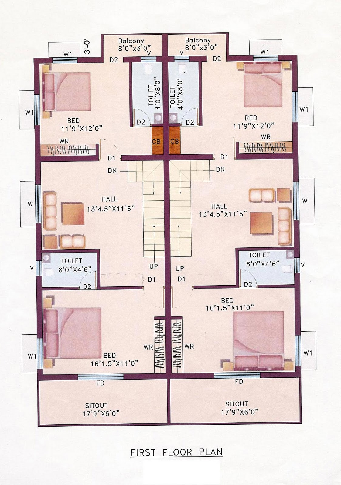 House plans indian floor plans for Housing plan in india