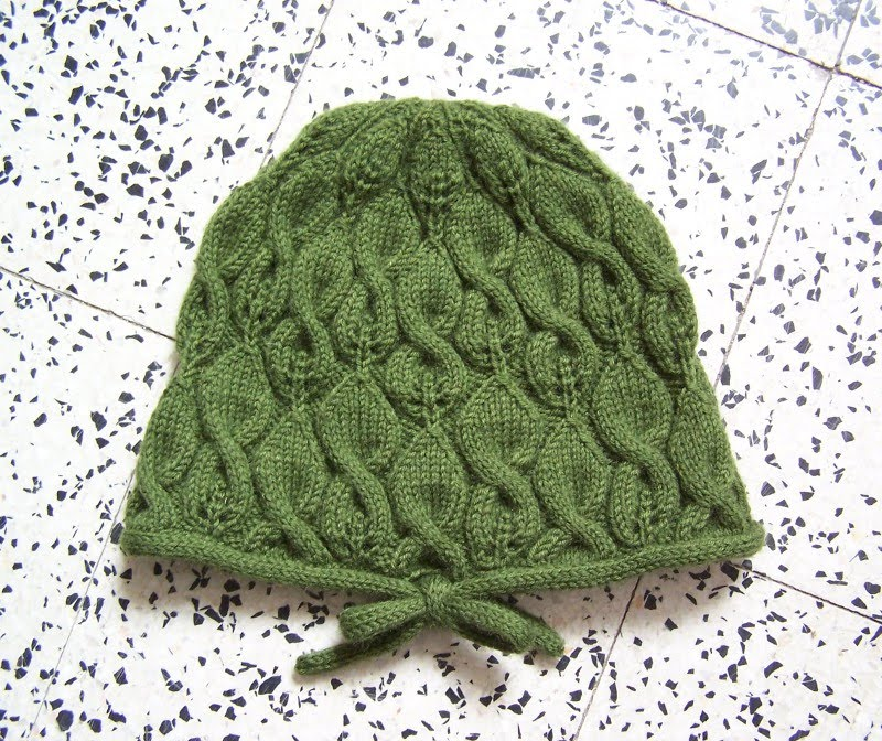 leaves hat: knitting pattern, tutorial