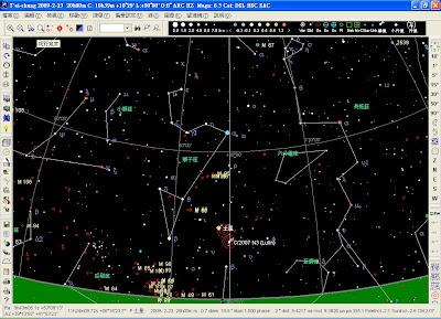 使用免費軟體Sky Charts(2.76c)模擬出的星圖。
