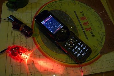 星座盤、星圖、指北針、包紅色玻璃紙的小手電筒、逛大賣場無意中發現的小腳踏車燈、彗星位置圖……