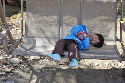 躺在前庭的搖椅很舒服。