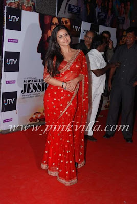 Vidya Balan in red saree at NOKJ premiere